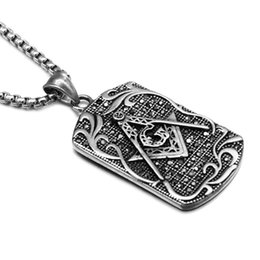 Wholesale Signet Silver - Punk Masonic Signet Necklace Gold Silver Casting Stainless Steel Free Mason Freemasonry Pendants Necklaces for Men Jewelry