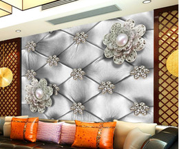 Wholesale Wholesale Pearl Weave Fabric - Luxury European Modern Pearl flower 3d soft suit TV backdrop wall wallpaper for walls 3 d for living room
