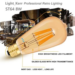 Wholesale Led Bulbs - 8W Edison Bulb Lead Bulbsn Vintage LED Filament Light Bulb Warm White E26 Medium Base Lamp ST64 Antique Shape 80W Incandescent Replacement