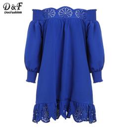 Wholesale Korean Dress Club - Wholesale- 2016 Cute New Arrival Casual Style Fashion Korean Brand Dresses Blue Off The Shoulder Long Sleeve Peplum Hem Hollow Dress