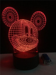 Wholesale Heart Led Wedding - Hot Cartoon Mickey Mouse 3D Touch Led Night Light Colorful Hologram Atmosphere Lamps For Children Christmas