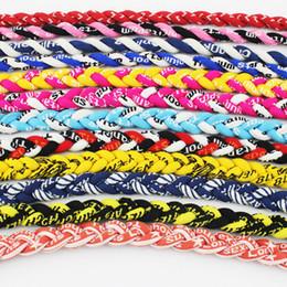 Wholesale Sports Titanium Necklaces New Colors - 2017 new brand chokers necklaces pendant necklace Baseball Sports Titanium 3 Rope Braided Sport Necklace Mixed colors