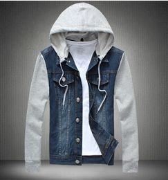 Wholesale Men Hooded Jean Jacket - Men's Casual Jean Jacket With Removable Hat Men Spring Cotton Jackets Pockets Male Fashion Street Jeans Jacket Plus Size M-5XL