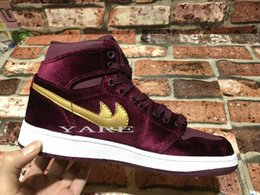 Wholesale Satin Silk Cushions - 2017 Air Retro 1 TOP GS Red Velvet Mens Women Basketball Shoes,Retros 1s Athletic Sports Trainers Sneakers Size 36-43 With Box