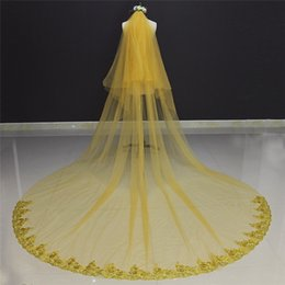 Wholesale Long Red Cathedral Wedding Veils - 2017 Real Photos Lace Edge Two Layers Long Gold Wedding Veil with Comb 3 Meters Length Beautiful Bridal Veil Voile Mariage
