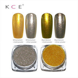 Wholesale uv gel powder nails - Wholesale-Nail Art Professional Metal nail Polish Gold and silver ,Color Manicure Makeup Mirror Chrome Effect Pigment Powder With Brush