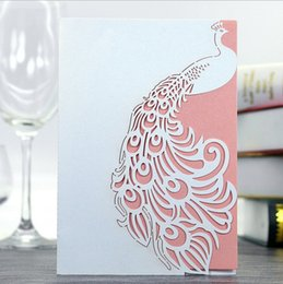 Wholesale Wedding Invitation Sky Blue - 2017 Laser Cut peacock Wedding Invitation Cards Hollow Wedding Party supplies thank you cards