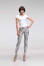 Wholesale Tattoo Print Leggings For Women - Women Fashion pants seamless 3D painting printed Sport Fitness leggings tattoo pantyhose feet pants leggings Limited time for sale9-16