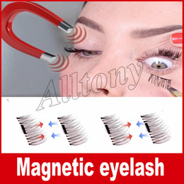 Wholesale Individual Eyelashes Extensions - Permanent Magnetic Eyelash 3D Fake Eyelashes Magnet 4 Pieces  Box=1pair 3D Individual Magnetic Fake Eyelashes Extension kit