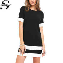 Wholesale White Dress Shift - Sheinside Ladies Color Block Casual Mini Dresses New Summer Style Black White Patchwork Crew Neck Short Sleeve Shift Dress