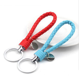 Wholesale Woven Leather Key Ring - 2017 Hot PU Leather Key Chain Woven Keychain PU Leather Cord Leather Knitted Bag Charm Keychains Car Key Ring dhl shipping