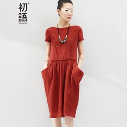 Wholesale Dress Ball Grown - Wholesale- Toyouth Summer O-Neck Casual Dress Women Short Sleeve Linen Pocket Ball Grown Knee Length Loose Dress Plus Size