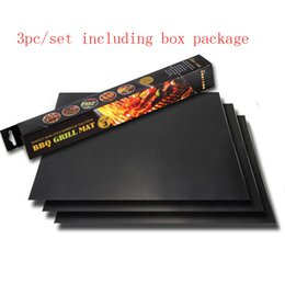 Wholesale Oven Clean - Grill Mat Set of 3 Barbecue Grilling Liner BBQ Grill Mat Portable Non-stick and Reusable Make Grilling Easy 33*40CM Oven Hotplate Mats