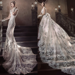 Wholesale Train Meters - 2.5 Meters Long Tail Wedding Dress Gorgeous Fashion Detachable Train Beach Wedding Dress Luxury Crystal Beaded Applique Mermaid Wedding Gown