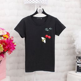 Wholesale Cherry T Shirt - Cherry Bee Embroidery tshirt Womens Summer Tops 2017 Short Sleeve Fashion Ladies Cotton T shirt Woman Big Size White Black