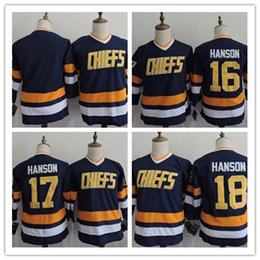 Wholesale Brother Full - Youth The Movie Hanson Brothers Charlestown Chiefs 16 Jack Hanson 17 Steve Hanson 18 Jeff-Hanson White Home Blue Away Stitched Hockey Jersey