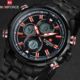 Wholesale Electronic Clock Dual - Wholesale- NAVIFORCE men watches fashion casual brand men dual display watches digital analog LED Electronic quartz wristwatches 3ATM clock