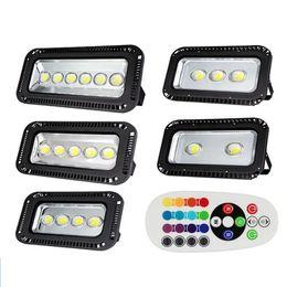 Wholesale Wholesale Outside Lights - 3 year warranty LED Flood light 200W 300W 400W 500W 600w RGB   Warm   Cool Whit project Floodlights Waterproof Outside lamp lighting 85-265v