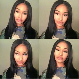 Wholesale Human Hair Braided Wigs - Silky Straight Full Lace Wig Brazilian Virgin Human Hair Can Be Braided 4*4 Silk Top Glueless Full Lace Wigs In Stock