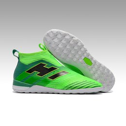 Wholesale Shoe Inside - Indoor Soccer shoes Ace Tango 17+ Purecontrol Solar Green Men Football Boots Flat Double layer inside
