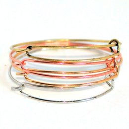 Wholesale 14k Gold Charm Bracelets - New fashion accessories wholesale wire bangle bracelets DIY jewelry cable wire bangle adjustable round charm love bracelet free shipping