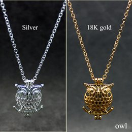 Wholesale Pearl Necklace Bird Charm - Mixed Owl Bird Design Alloy Bead Cage Fragrance Perfume Essential Oil Diffuser Fashion Charm Necklace Pendant Pearl Jewelery