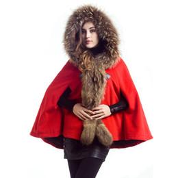 Wholesale Grey Fur Raccoon - Winter Raccoon Fur Ponchos Coat For Women Hooded Woolen Coats Jacket Warm Parka Jackets Shawl Cape Outwear Grey Camel Red HOD1201
