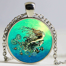Wholesale Channel Set Necklace - Mermaid Pendant Necklace B&M 2016 New Fashion Round Glass Necklace Mermaid Murano Glass Pendants Free Shipping