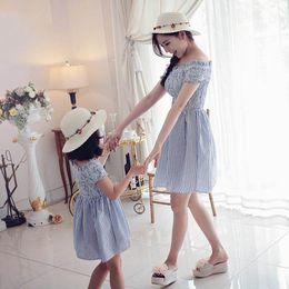 Wholesale Off Shoulder Stripes Dress - Retail 2017 Summer Family Matching Outfits Stripe Elastic Parent Girl Off Shoulder Dress Children Clothing 3-7T 604607