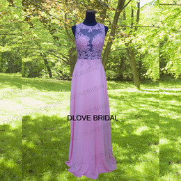 Wholesale Guest Orders - Blush Pink Lace Chiffon Country Bridesmaid Dresses Sexy Back Maid of Honor Gowns Backless Wedding Guest Dress Gown Made to Order Real Photo