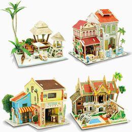 Juguetes gratis modelos 3d online-50 sets envío gratis 3D rompecabezas de madera modelo de bricolaje niños juguete francés café casa rompecabezas edificios