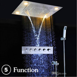Wholesale modern style bathrooms - Modern Luxury European Style Shower Set Large SUS304 5 functions Showerhead Thermostatic Mixer Waterfall Rainfall Bathroom Led Ceiling light