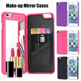 Cubiertas del tirón del iphone niñas online-Elegante chica de moda maquillaje espejo caso para iphone7 caja de la contraportada con billetera ranuras para tarjetas Flip Case para iPhone 6 6S 7 Plus