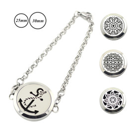 Wholesale 316l Chain - Wholesale silver color 25mm 30mm magnetic perfume locket 316L Stainless Steel Essential Oils Diffuser Locket Bracelets