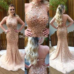 Wholesale Long Sparkly Graduation Dresses - Champagne Mermaid Prom Dresses 2017 Sparkly Crystal Evening Dresses Beaded Graduation Pageant Dress Backless Long Formal Party Gowns