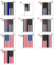 Wholesale Police Flags - us garden flag 30*45CM Blue Line Red Line USA Police Flags 12*18inch Thin Blue red Line USA Flag Black White Blue American Flag B977