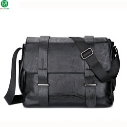 Wholesale Vintage Leather Satchels For Men - Wholesale-high quality leather men messenger bags vintage solid Cover men shoulder bag business black crossbody bags Laptop bag for man