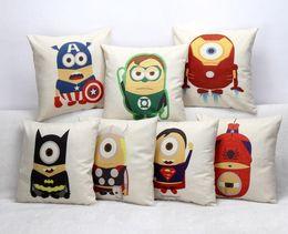 Wholesale Superman Covers - Top quality Minions Avengers Superman Linen Square Design Throw Pillow Case Decorative Cushion Cover Captain America series Pillowcase