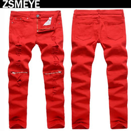 Wholesale Tr Jeans - ZSMEYE brand tr style men biker jeans with zippers black white red true winter robins hombre jeans pants free shipping