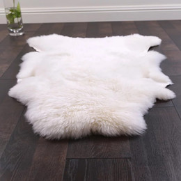 Wholesale fur carpet rug - Uncut shaped 90*120CM Australian sheepskin rug for decoration carpet, natural white sheep fur cushion, sheep fur ground mat