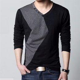 Wholesale Mk Shirts - Wholesale- MK 2017 Spring Fashion Long Sleeve T Shirt Men New V Neck Patchwork Bottons Slim Fit Tops Tees Mens Shirts T-Shirts