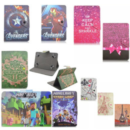 """Wholesale Tablet Avengers - Universal Cartoon Bow-knot Avengers PC Leather Wallet Case For Ipad Sharp LG 7"""" Tablet PC Flip Stand Holder Cover Tower Minecraft Pattern"""