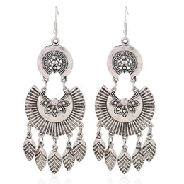 Wholesale Bohemia Earring - Silver Plated Leaf Dangle Earrings Multi Layer Ethnic Alloy Bohemia Circle Maxi Gold Color Vintage Tassel Flower Drop Earrings Joker Women