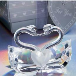 Wholesale Crystal Figurines Wholesale - Elegant Wedding Gift K9 Crystal Kissing Swans Figurines Bridal Shower Favor Crystal Swan 50PCS FREE SHIPPING