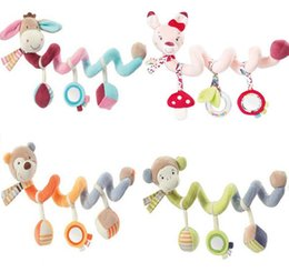 Wholesale play monkeys - Wholesale- JJOVCE Baby plush animal donkey  monkey  bear  rabbit Crib Revolves Bed Stroller Playing Crib Lathe Hanging Rattle toy 40%off