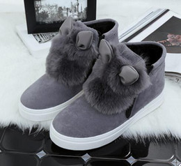 Wholesale Ear Hook Loop - New Woman Platform With Fur Korean Style Ears women winter shoes Boots plush slip on For Student Snow Shoes Female Warm Bota