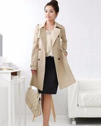 Wholesale Fall Color Trends - Women fall and winter in Europe and the fashion trend in han edition of the new big yards double-breasted trench coat   S-5xl