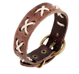 Wholesale Men S Rope Chain - Simple leather bracelet men 's style retro leather rope bracelet leather jewelry
