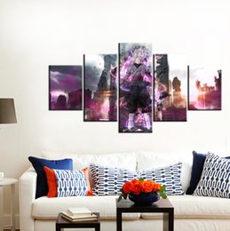 Wholesale Black Oil Paint - 5pcs set Wall Art Picture:Japanese Anime Goku Black Spray Painting on Canvas Unframed Landscape Print Wholesale Home Decoration