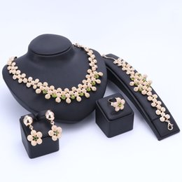 Wholesale Set Bridal Jewerly - Wedding Women Fashion Crystal Jewelry Sets Bridal Party Accessories Necklace Earring Ring Bracelet African Beads Jewerly Sets
